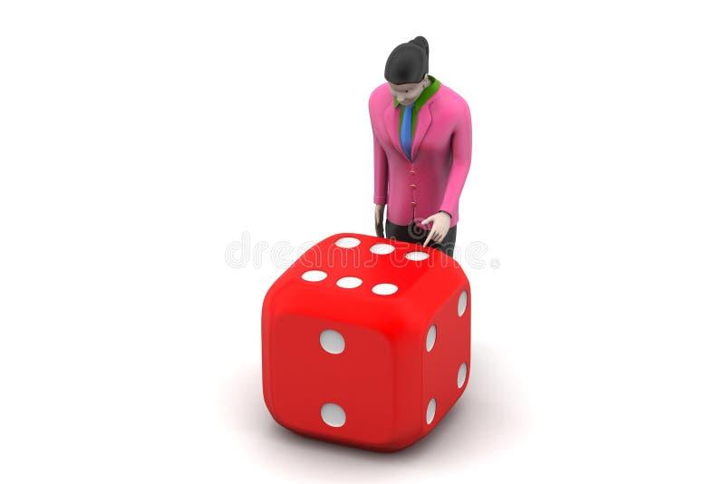 3d vrouw met kubus stock illustratie