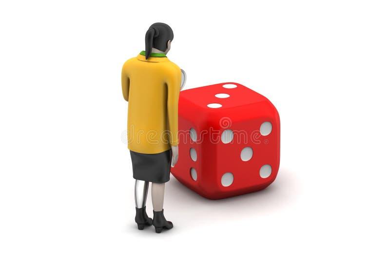 3d vrouw met kubus royalty-vrije illustratie
