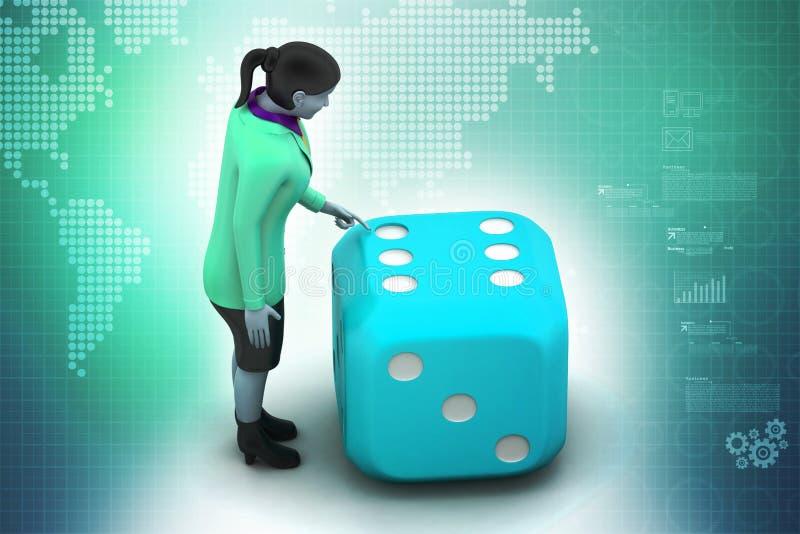3d vrouw met kubus vector illustratie