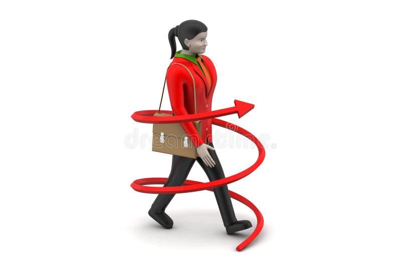 3d vrouw met pijl vector illustratie