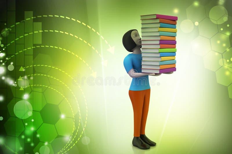 3d vrouwen die boek, onderwijsconcept houden royalty-vrije illustratie