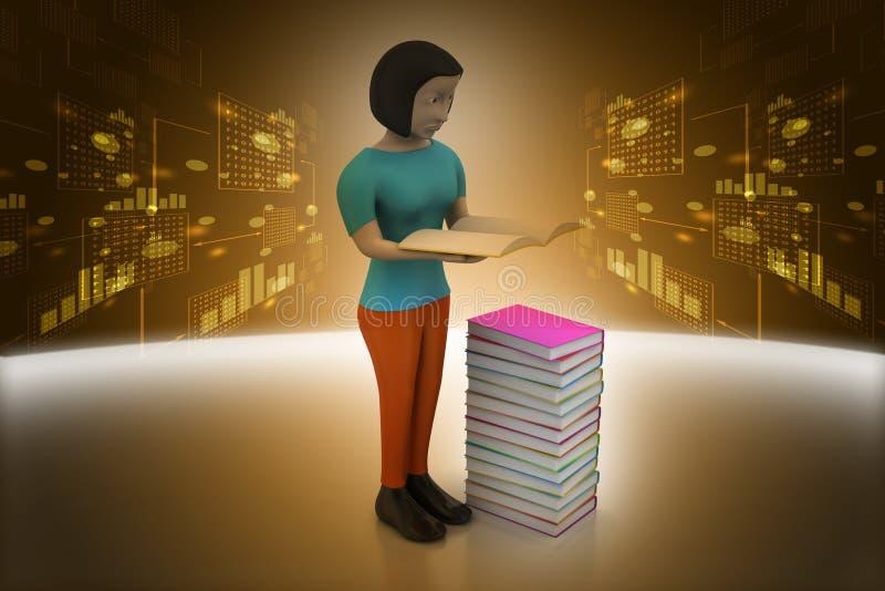 3d vrouwen die boek, onderwijsconcept houden vector illustratie