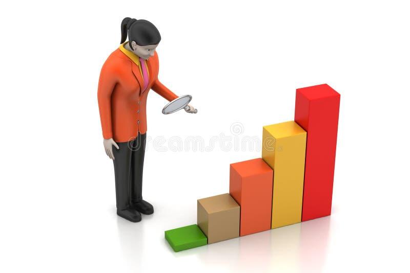 3d vrouwen die de financiële grafiek bestuderen vector illustratie