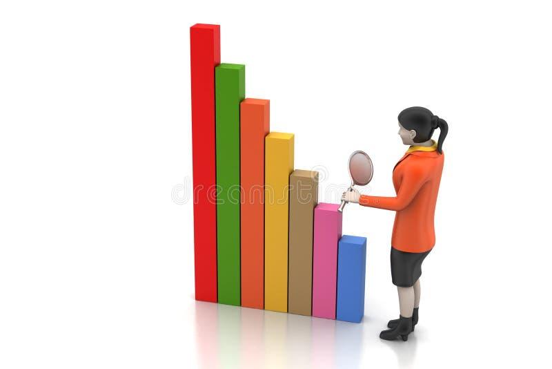 3d vrouwen die de financiële grafiek bestuderen royalty-vrije illustratie