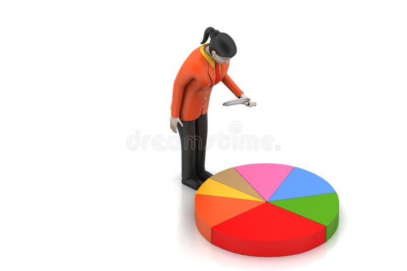 3d vrouwen die het cirkeldiagram bestuderen vector illustratie