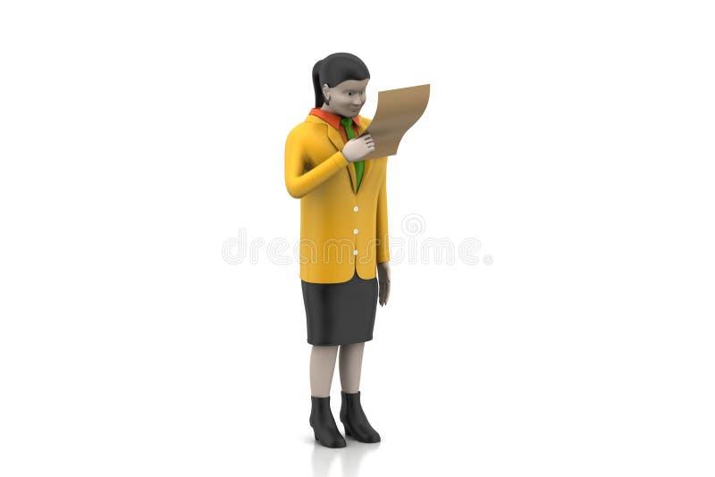 3d vrouwen die het document kijken royalty-vrije illustratie