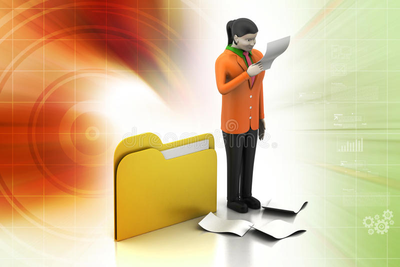 3d vrouwen die het document kijken stock illustratie