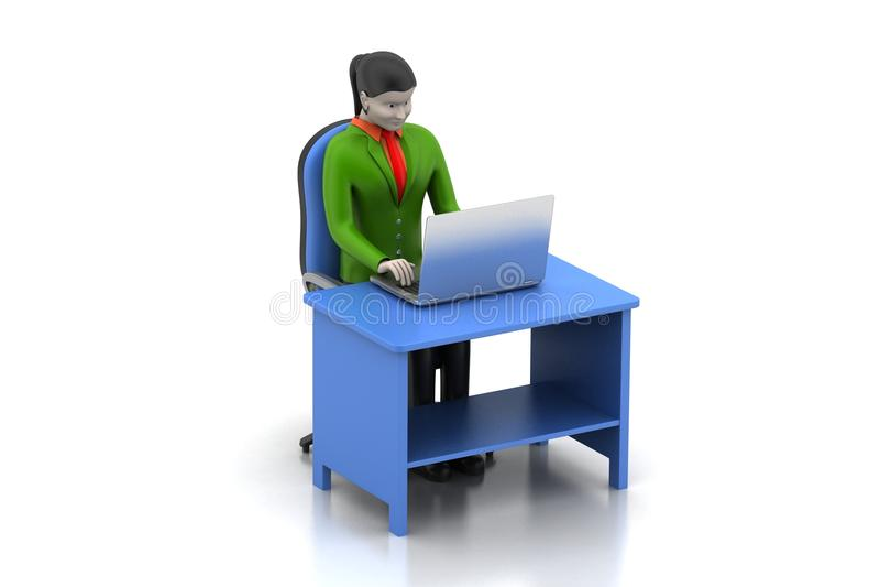 3d vrouwen die laptop kijken vector illustratie