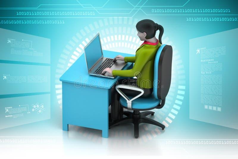 3d vrouwen die laptop kijken stock illustratie
