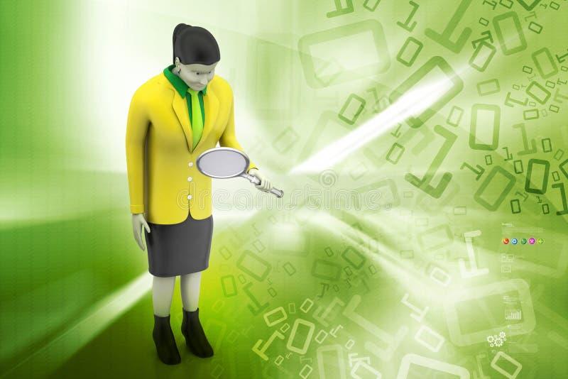 3d vrouwen die meer magnifier kijken stock illustratie