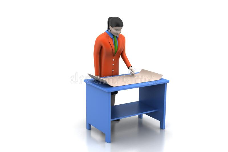 3d vrouwen in het werkplaats stock illustratie