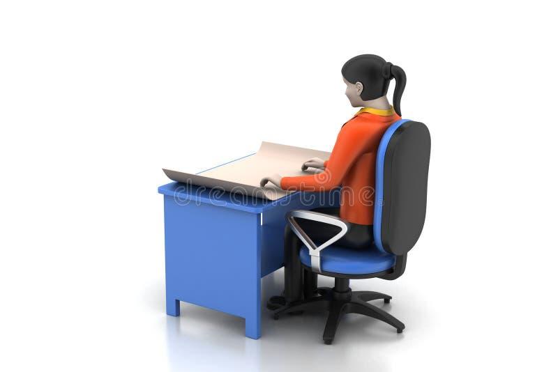 3d vrouwen in het werkplaats royalty-vrije illustratie