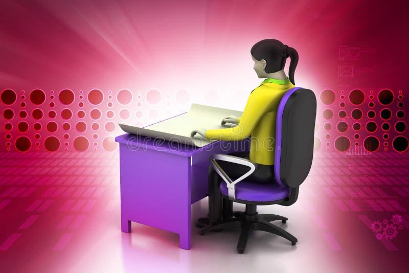 3d vrouwen in het werkplaats vector illustratie