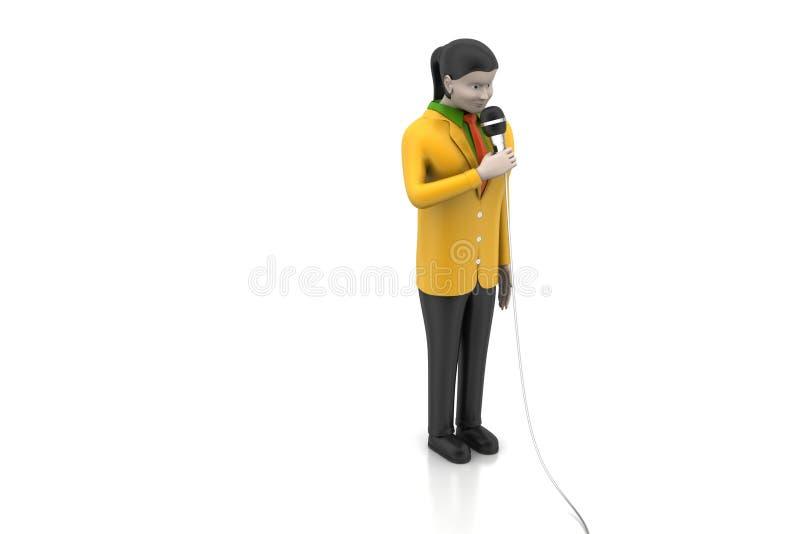 3d vrouwen met microfoon royalty-vrije illustratie