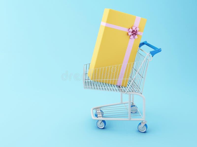 3d wózek na zakupy i prezenta pudełko royalty ilustracja