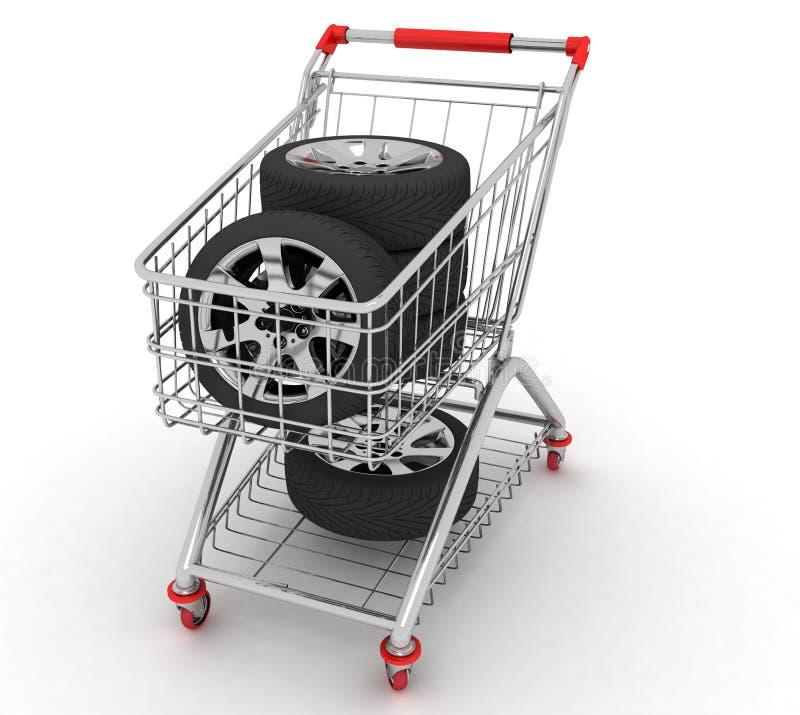 3D wózek na zakupy z kołem ilustracji