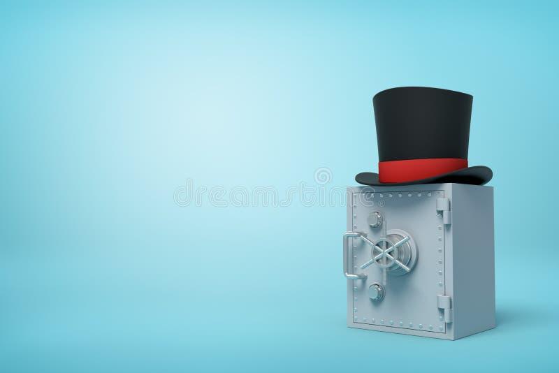 3d w górę renderingu zamknięta popielata metal skrytka z czarnym odgórnym kapeluszem na wierzchołku na bławym tle z kopii przestr obrazy stock