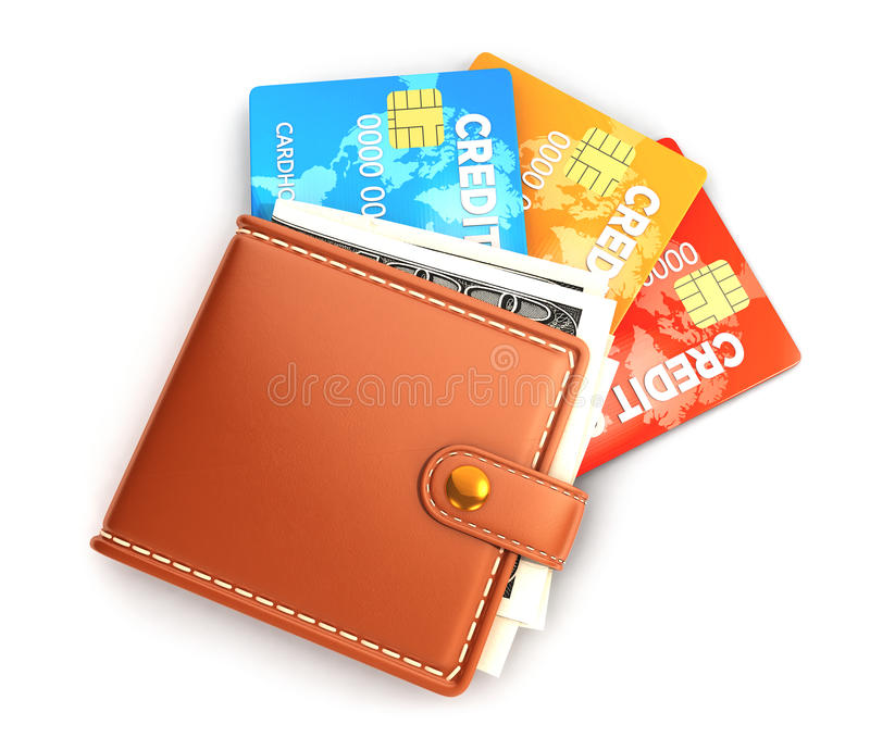 3d wallet. With credit cards, white background, 3d image vector illustration