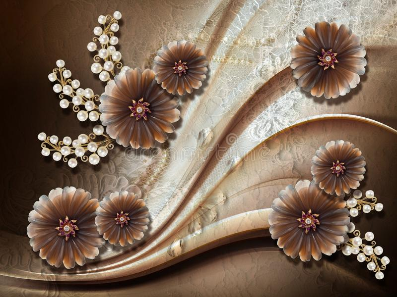 3d wallpaper, jewelry flowers, pearls on lace background. royalty free stock image