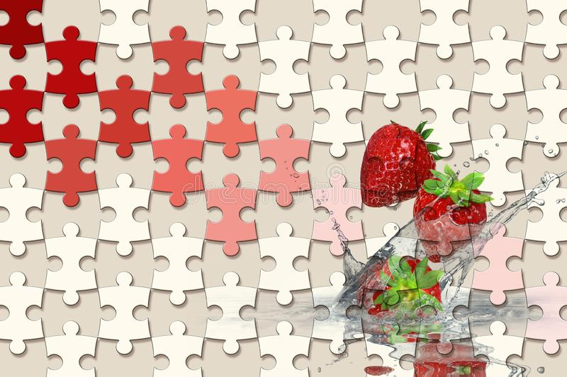 3d wallpaper, jigsaw puzzle pieces, strawberry, splash water drops on red background royalty free stock images