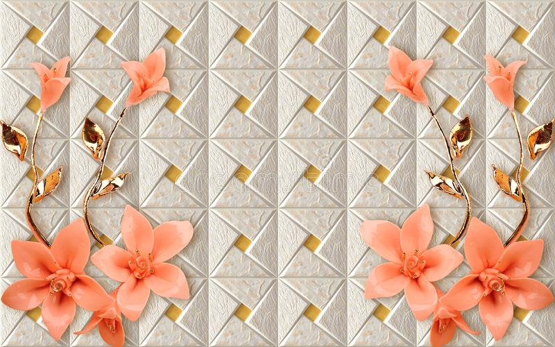3D Wallpaper mural Design with Floral and Geometric golden branch chinese marble wallpaper flowers rose flower. D . will visually expand the space in a small stock photography