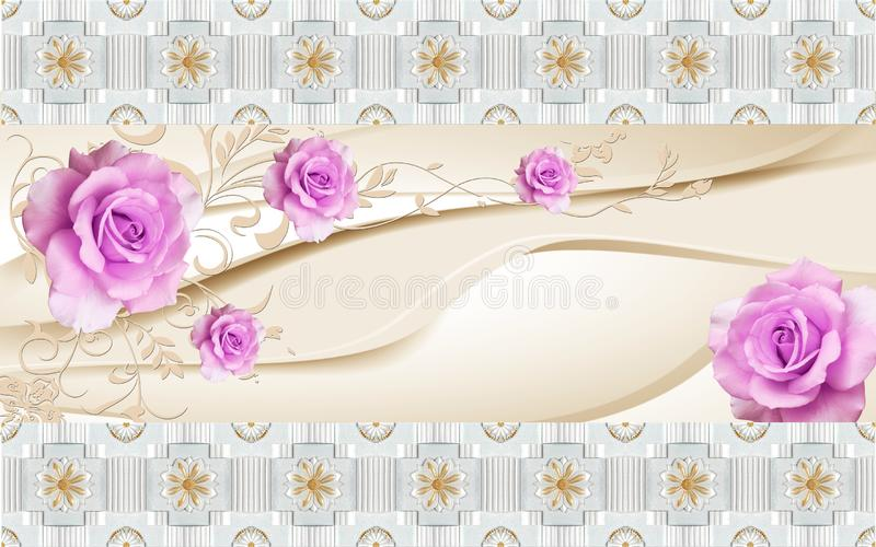 3D Wallpaper mural Design with Floral and Geometric Objects gold ball and pearls, gold jewelry wallpaper flowers  pink flower vector illustration