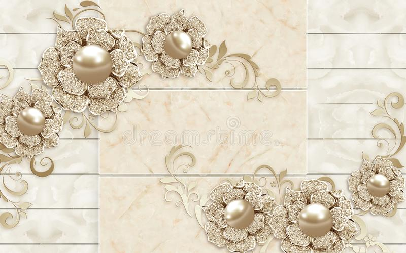 3D Wallpaper mural Design with Floral and Geometric Objects gold ball and pearls, gold jewelry wallpaper purple flowers stock photography