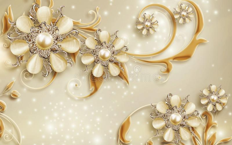 3D Wallpaper mural Design with Floral and Geometric Objects gold ball and pearls, gold jewelry wallpaper purple flowers stock illustration