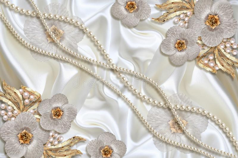 3D wallpaper texture, Jewelry flowers and white pearls on silk background. Celebration 3d background stock images