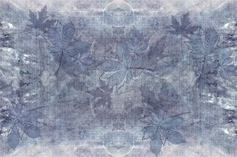 3d wallpaper texture, wild flowers on denim color fabric canvas texture royalty free illustration