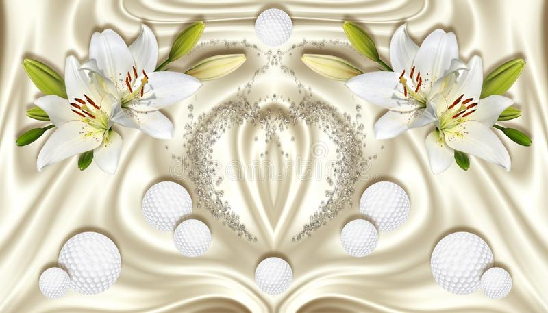 3d wallpaper, white lilies and spheres on silk background. Celebration 3d background. The original panel will turn your room in with the most recent world stock illustration