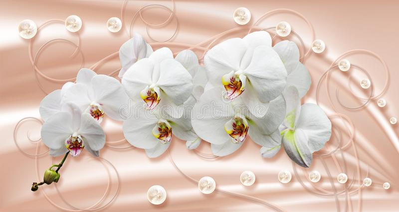 3d wallpaper, white orchids and pearls on silk background. Celebration 3d background. The original panel will turn your room in with the most recent world vector illustration