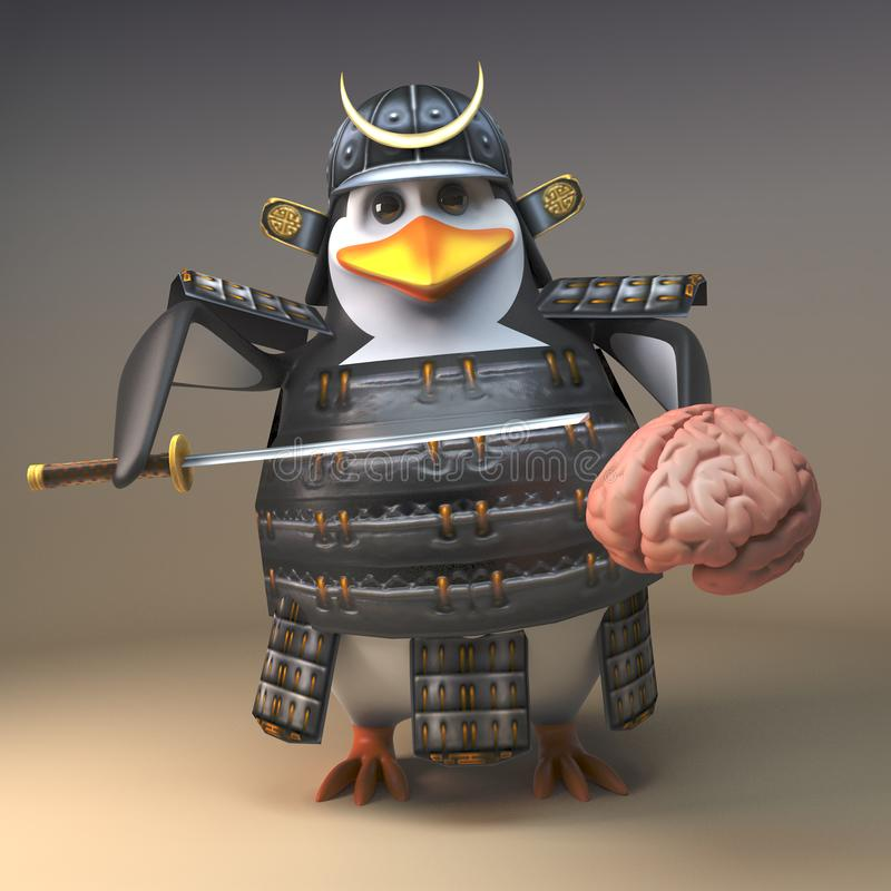 3d warrior samurai penguin character holding a human brain, 3d illustration vector illustration