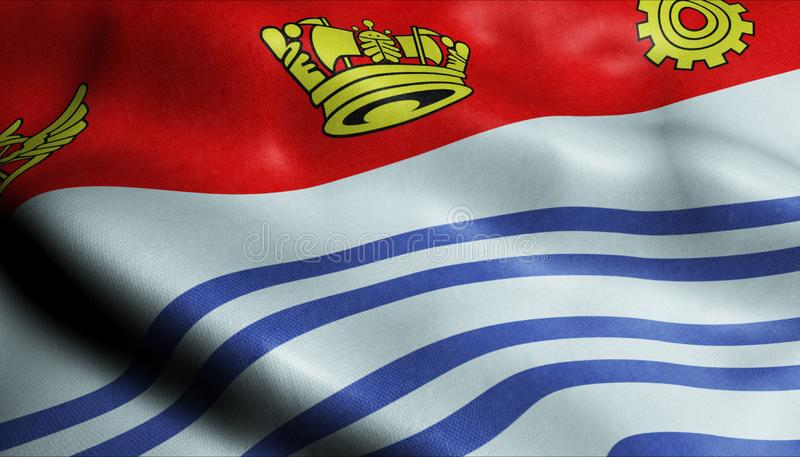 3D Waving Canada City Flag of Barrie Closeup View royalty-vrije stock afbeelding