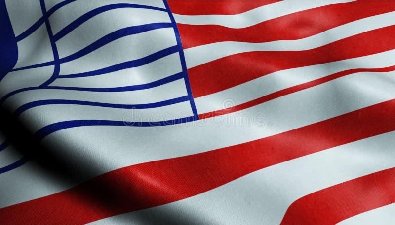 3D Waving Canada City Flag Lethbridge Closeup View lizenzfreies stockfoto