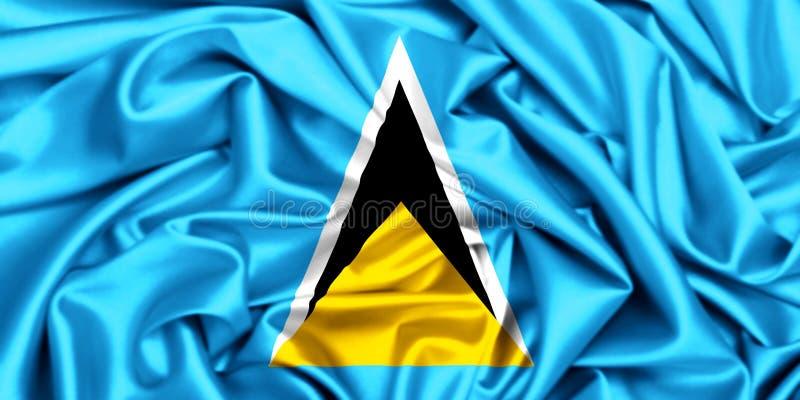 3d waving flag of Saint Lucia royalty free illustration