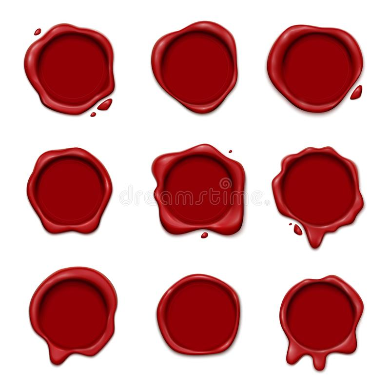 3D Wax Stamp Set. Wax stamp set of realistic 3d images with different wafer seals with empty space for text vector illustration royalty free illustration