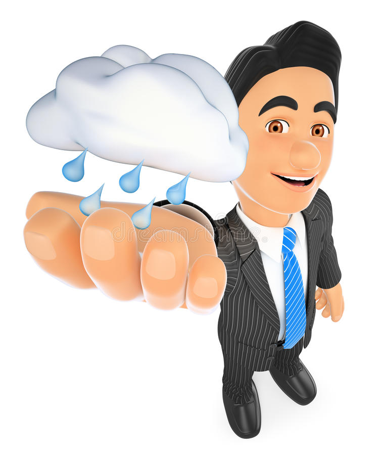 3D Weather man with a cloud with rain. Rainy day royalty free illustration
