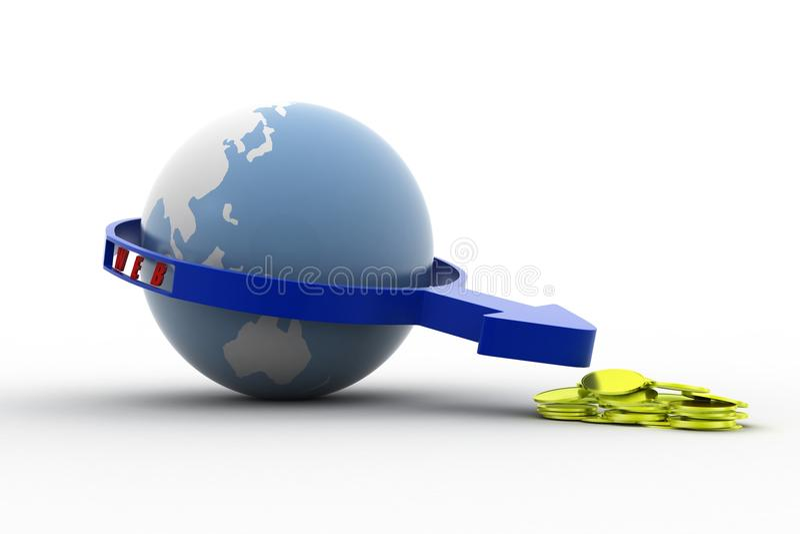 Download 3d Web Money Concept stock illustration. Illustration of earth - 43529336