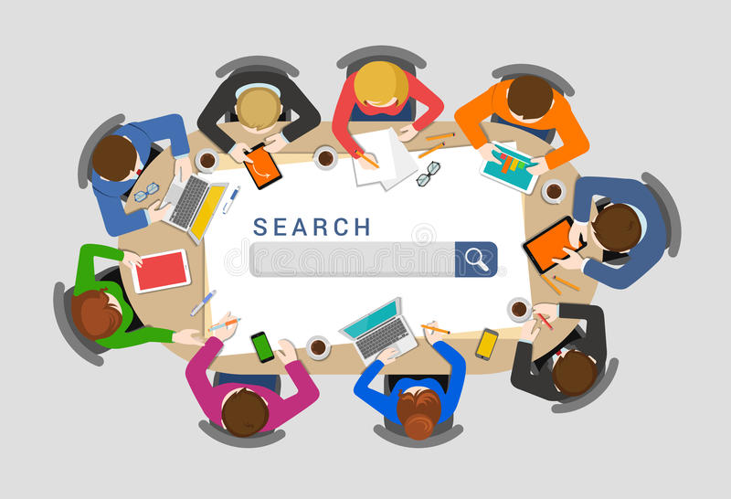 3d Web site isométrico liso da busca da reunião de negócios do vetor SEO ilustração stock