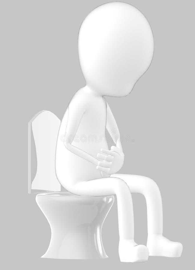 3d weißer Charakter, Charakter, der in einem Wandschrank sitzt vektor abbildung