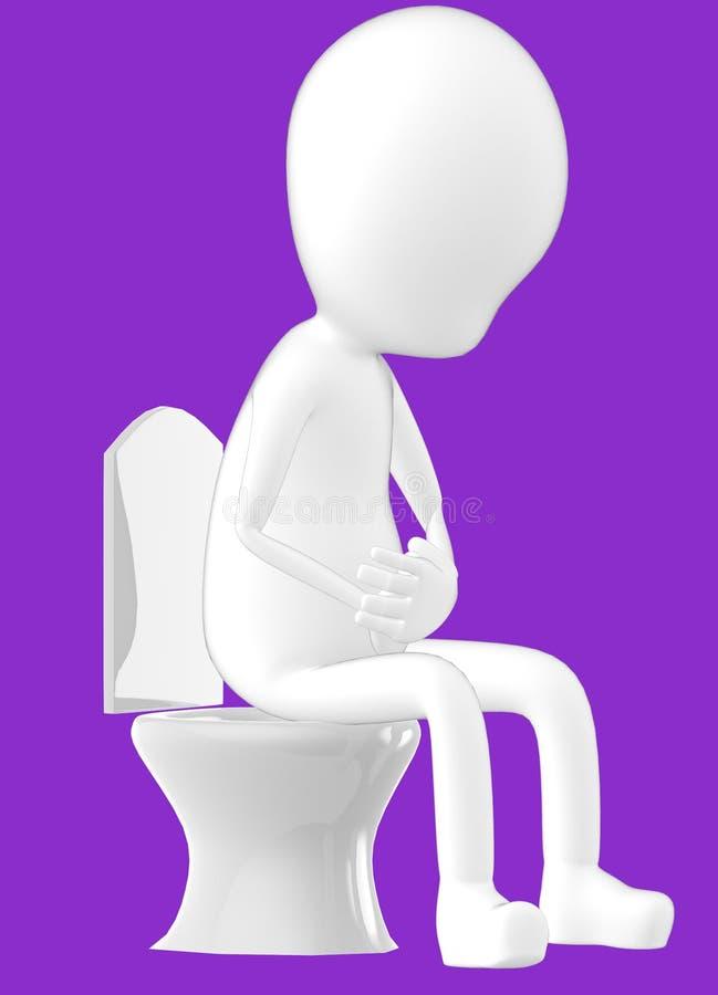 3d weißer Charakter, Charakter, der in einem Wandschrank sitzt stock abbildung