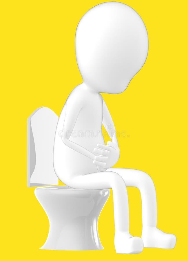 3d weißer Charakter, Charakter, der in einem Wandschrank sitzt lizenzfreie abbildung