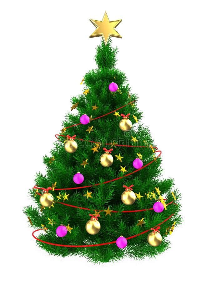 3D Weihnachtsbaum lizenzfreie abbildung