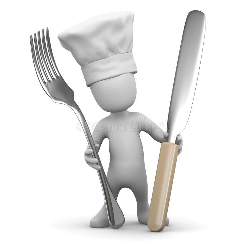 3d Weinig chef-kok met mes en vork royalty-vrije illustratie