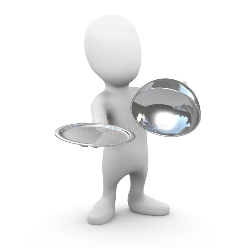 3d Weinig kelner met zilveren de dienstdienblad vector illustratie