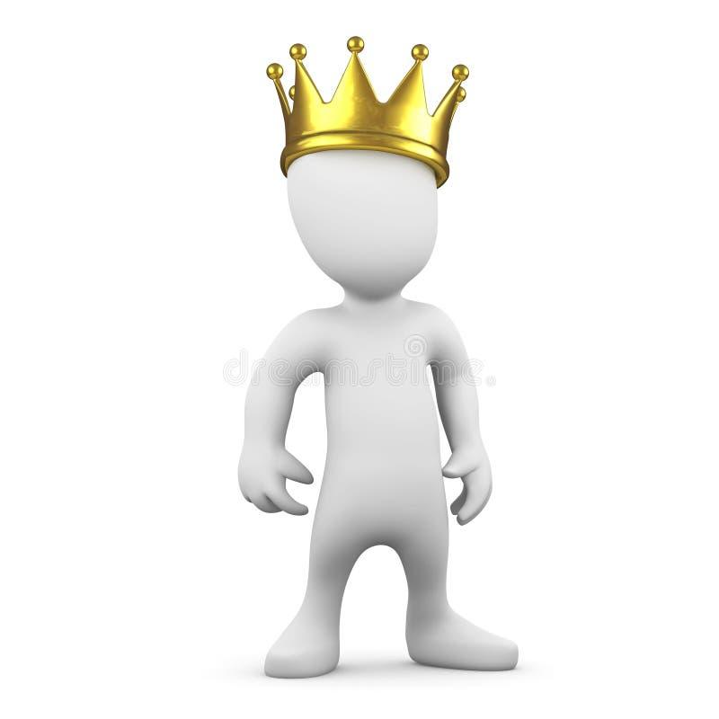 3d Weinig mens die een gouden kroon dragen vector illustratie