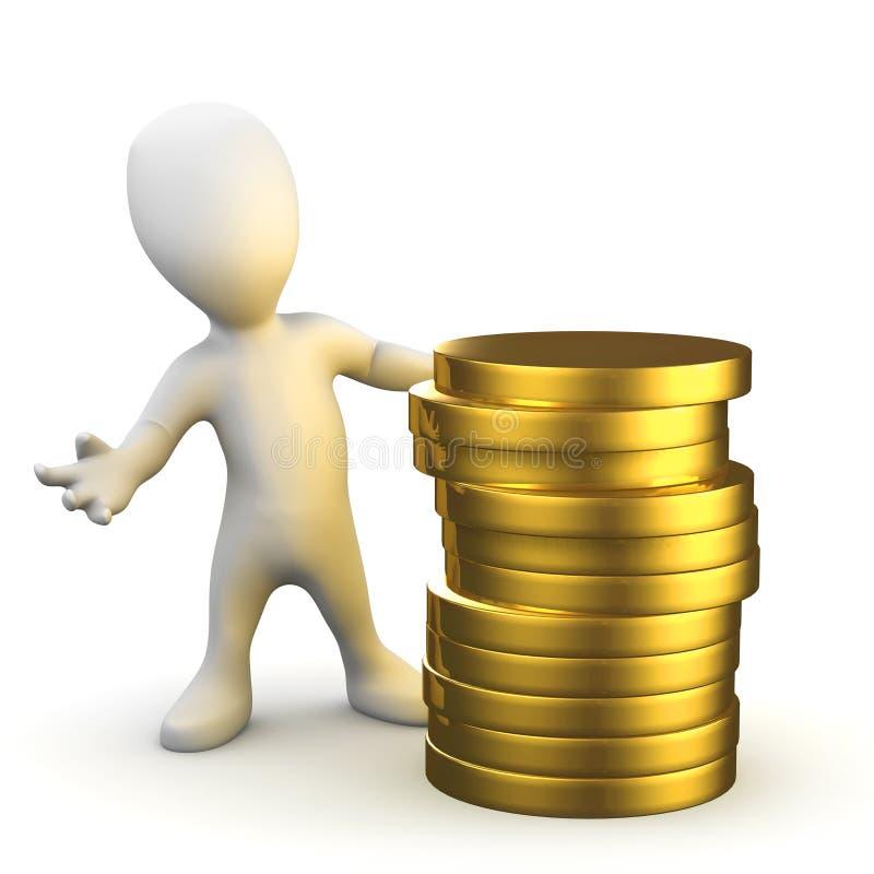 3d Weinig mens met een stapel van gouden muntstukken vector illustratie