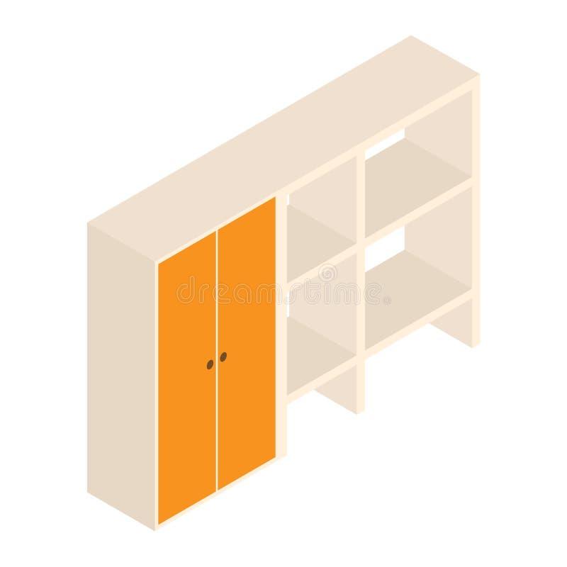 3d wektorowa spiżarnia z półkami i projekt ilustracją odosobniony drewniany gabinet z półkami na białym tle ilustracja wektor
