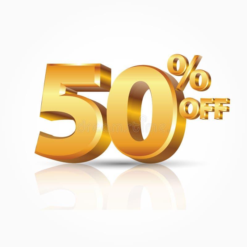 3d wektorowy błyszczący złoto 50 procentów z teksta z odbiciem odizolowywającym na białym tle ilustracja wektor